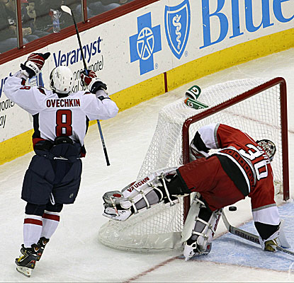 Washington's Alex Ovechkin celebrates a goal against Carolina during the second period. (AP)