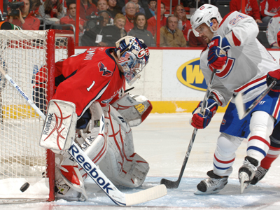 Semyon Varlamov makes a save on a shot by Brian Gionta of the Montreal Canadiens. (Getty Images)