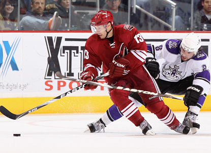 Ray Whitney of the Coyotes (13) skates past Drew Doughty of the Kings and goes on to score a goal.  (Getty Images)