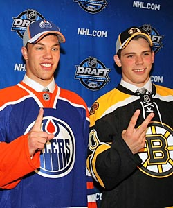 Taylor Hall went first to the Oilers, Tyler Seguin second to the B's. (Getty Images)