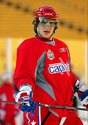 Washington's Alex Ovechkin pauses during practice at Heinz Field. (US Presswire)