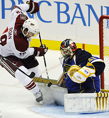 St. Louis goalie Jaroslav Halak blocks a shot by the Coyotes' Shane Doan in the Blues' 4-3 win. (AP)