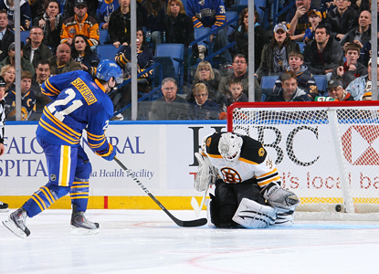 Drew Stafford beats the Bruins goalies four times on the night: three in regulation, once in the shootout.  (AP)