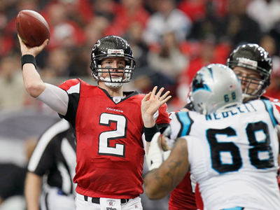 Matt Ryan passes for 236 yards and two TDs during Atlanta's decisive win over Carolina.  (Getty Images)