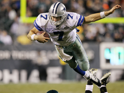 Backup QB Stephen McGee leaves everything on the field as he leads the Cowboys to a season-ending victory.  (Getty Images)