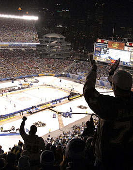 A move to prime time, even if unplanned, was a big coup for the Winter Classic and the NHL. (AP)