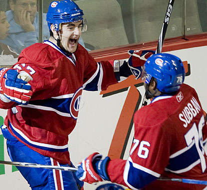 Max Pacioretty celebrates his winning goal with P.K. Subban as Montreal completes its comeback. (AP)