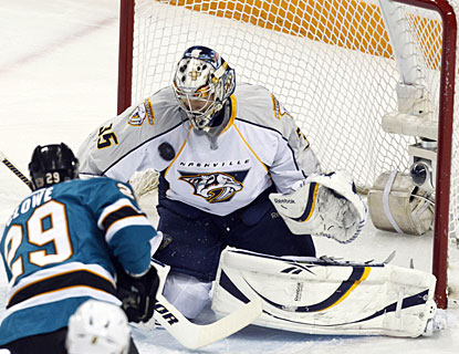 With 42 saves, Pekka Rinne plays a key part in Nashville's three-game sweep of California teams in four days. (US Presswire)