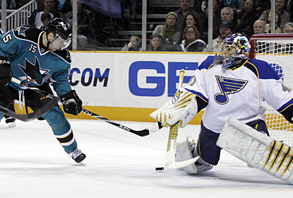 San Jose's Dany Heatley manages to break through with a pair of goals, his first in a stretch of 14 games. (AP)