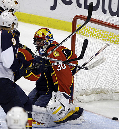 Panthers goalie Scott Clemmensen fails to stop a game-tying goal by Chris Thorburn (not pictured). (AP)