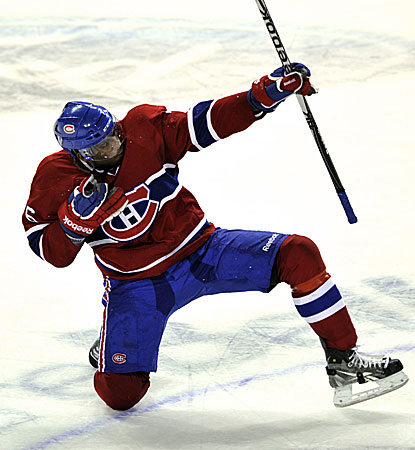 Montreal's P.K. Subban celebrates after scoring the game-winning goal against the Flames.  (AP)