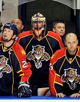 Bryan McCabe, Scott Clemmensen, Tomas Vokoun and the Panthers are in a familiar spot: Just outside the playoffs. (US Presswire)