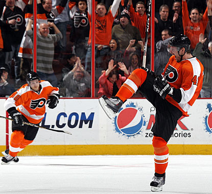 The Flyers waste a 2-0 lead in regulation, but Andrej Meszaros makes up for that lapse just 67 seconds into overtime. (Getty Images)