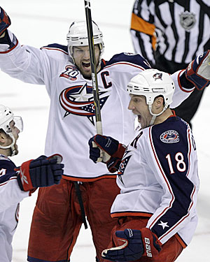 Jackets captain Rick Nash would like to celebrate more goals like R.J. Umberger's OT winner. (AP)