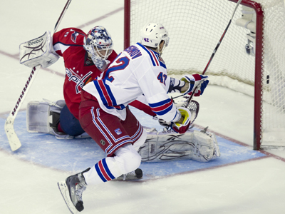 Artem Anisimov bests Braden Holtby in the shootout to  give the Rangers a come-from-behind victory.   (AP)