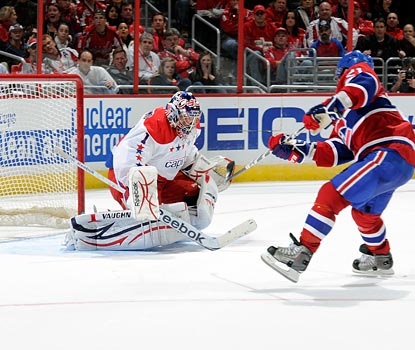 Brian Gionta scores the Canadiens' only two goals in regulation, sneaking this one past Semyon Varlamov in the second.  (Getty Images)