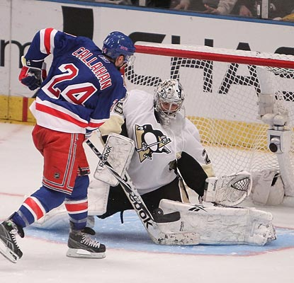 All-Star goaltender Marc-Andre Fleury is perfect in the shootout, saving all seven attempts, including Ryan Callahan's try.  (Getty Images)