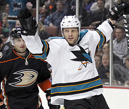 Ben Eager celebrates his first goal with the Sharks since being acquired via trade on Jan. 18. (AP)