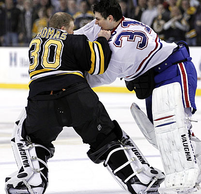 It's a rough outing for pretty much every player, including goalies Tim Thomas and Carey Price, who drop the gloves. (AP)