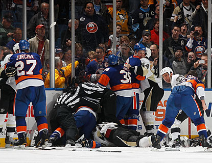 There's no love lost between the Islanders and Penguins, who have a couple of all-out brawls during the contest. (Getty Images)