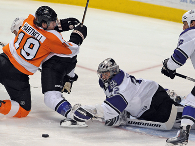 Jonathan Quick shuts down the Flyers and gives the Kings their first regulation win in Philadelphia in nearly 18 years.  (US Presswire)