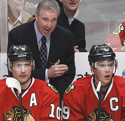Assistant coach Mike Haviland takes over the bench duties as head coach Joel Quenneville is hospitalized. (AP)