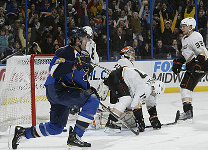 David Backes scores his lone goal of the night in what turns out to be an offensive bonanza for the Blues. (Getty Images)