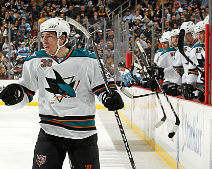 Logan Couture ties a Sharks franchise record for a rookie with his 25th goal of the season. (Getty Images)