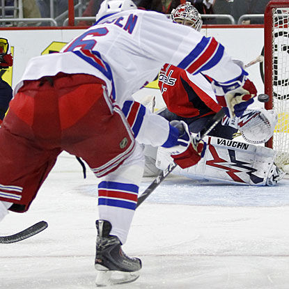 Erik Christensen scores his second goal and proceeds to set up two more goals in the third period. (US Presswire)