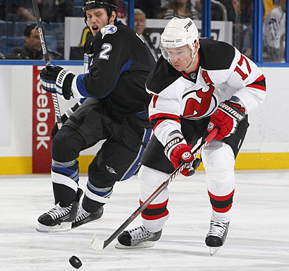 Ilya Kovalchuk picks up an assist on the Devils' goal to extend his point streak to 12 games. (Getty Images)