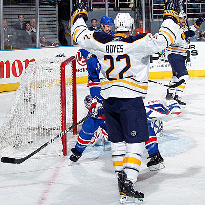 After coming from the Blues over the weekend, Brad Boyes makes an impact right away for Buffalo. (Getty Images)