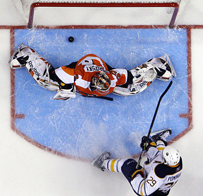 Jason Pominville puts the puck past goalie Sergei Bobrovsky for what turns out to be the deciding goal. (AP)