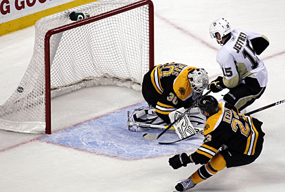 After scoring in regulation, Dustin Jeffrey nets the game-winning goal in overtime. (US Presswire)