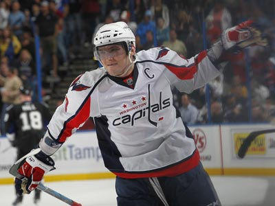 Alex Ovechkin celebrates after scoring in the opening round  of the shootout against the Lightning.  (Getty Images)