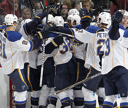 St. Louis players mob Chris Stewart, who gives his team the win just 54 seconds into OT with his second goal of the game. (Getty Images)