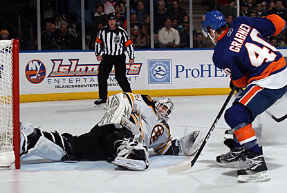 Michael Grabner is the first of three scorers in the third period for the New York Islanders. (Getty Images)