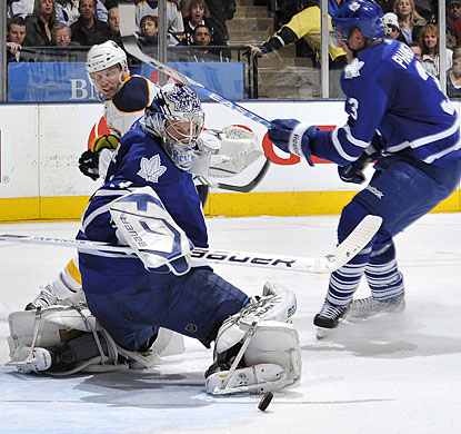 James Reimer makes several spectacular saves, but none more impressive than this one on Tomas Vanek. (Getty Images)