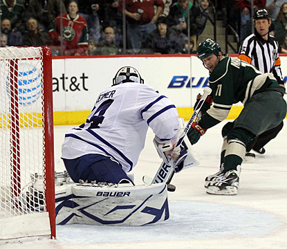 Rookie James Reimer denies John Madden on a breakaway en route to his third career shutout. (Getty Images)