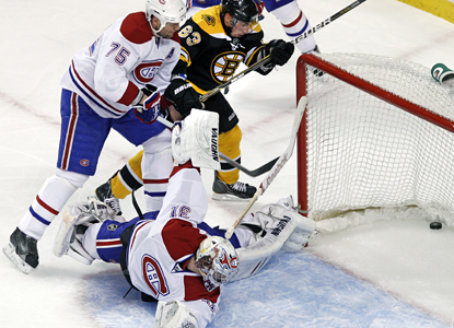 Montreal goalie Carey Price looks back at the puck in the net on a Gregory Campbell goal. (AP)
