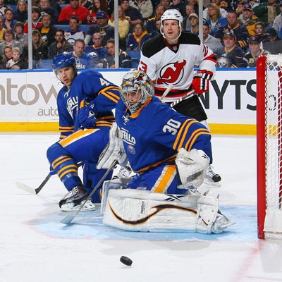Ryan Miller stops all 30 shots while leading Buffalo to a critical down-the-stretch victory over the Devils.  (Getty Images)