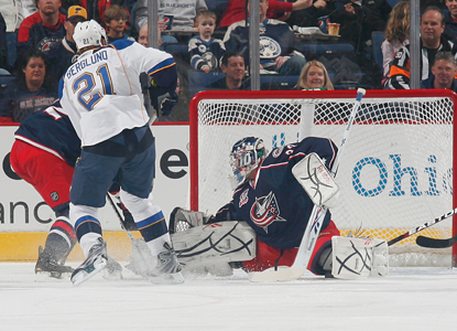Patrik Berglund beats Blue Jackets goalie Mathieu Garon in the first period for one of his two goals on the night. (Getty Images)