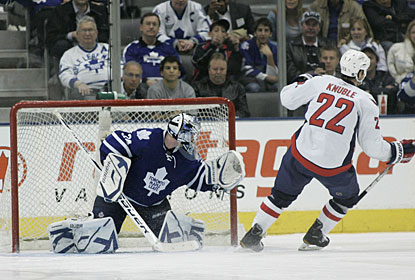 Mike Knuble takes care of business against James Reimer for the winning shootout goal. (US Presswire)