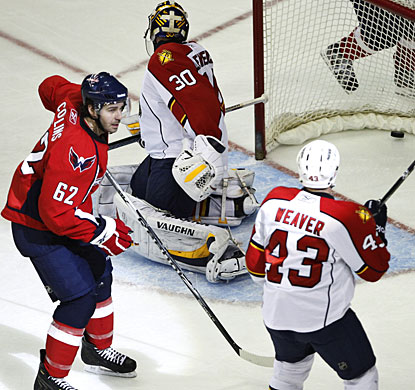 Sean Collins, who was called up from the minors recently, scores his second career goal in the NHL. (AP)