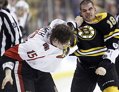 Nathan Horton takes penalties, he scores the go-ahead goal for the Bruins and also has a fight with Ottawa's Zack Smith. (AP)