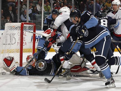 Goalie Tomas Vokoun stops one of 28 shots while earning a shutout victory over Washington.   (Getty Images)