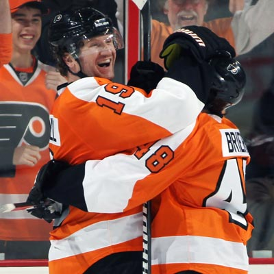 Scott Hartnell (left) celebrates his first of two goals on the night with teammate Danny Briere.  (Getty Images)