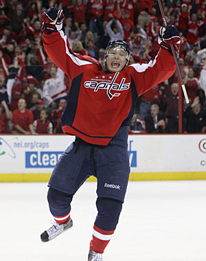 A former 40-goal scorer, Alexander Semin breaks through with his first goal in the playoffs. (AP)