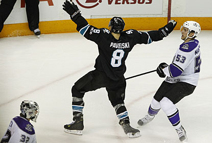 Joe Pavelski, who scores the winning goal after trailing the play, starts the celebration in San Jose. (US Presswire)