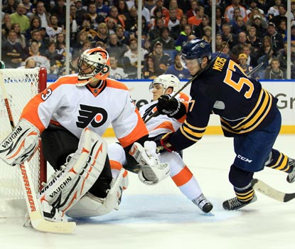 Flyers netminder Brian Boucher gets the starting nod and stops 35 shots against the Sabres in Game 3.  (US Presswire)
