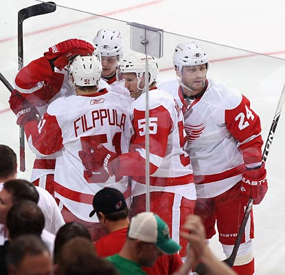 The Red Wings do plenty of celebrating right out of the gate, scoring two goals in the first three minutes.  (Getty Images)